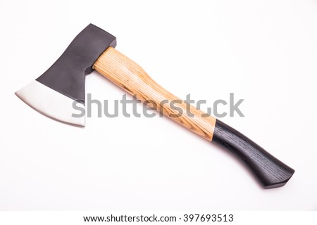 Small hand axe with wooden black handle isolated on white background - stock photo