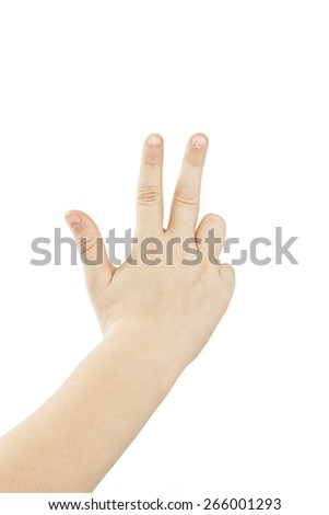 Small hand simulating showing number three sign. Isolated on white background - stock photo