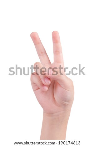 small hand simulating showing number two sign. Isolated on white Background - stock photo