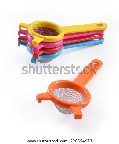 Small Hand Strainer On White - stock photo