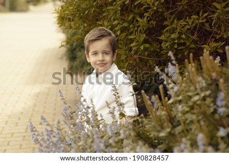 Small  happy boy on nature view - stock photo