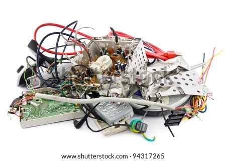 Small heap of mixed electronic waste - stock photo
