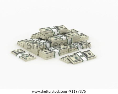 Small heap of money, 3d illustration on white background - stock photo