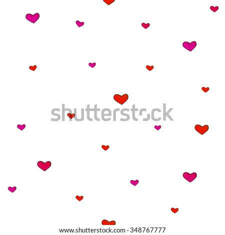 Small hearts are isolated on a white background. Seamless pattern. Watercolor lovely drawing. Handwork. Children's pictures - stock photo