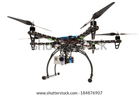 Small hexacopter with camera at studio - stock photo