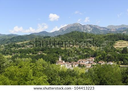 Small historic town in Garfagnana (Lucca, Tuscany, Italy) at summer - stock photo