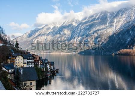 Small historical city Hallstatt in winter Austria - stock photo