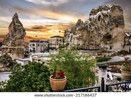 Small hotel Goreme House in Cappadocia, Turkey - stock photo