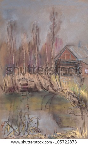 small house on the shore of pond in forest in late autumn - stock photo