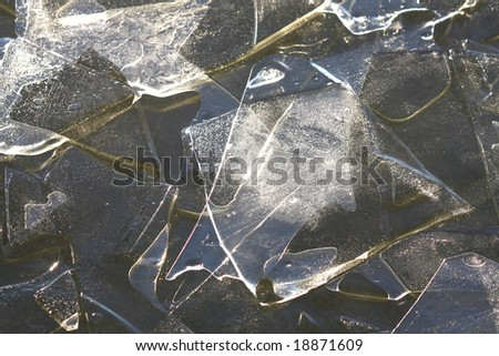 small ice floes in sunshine - stock photo