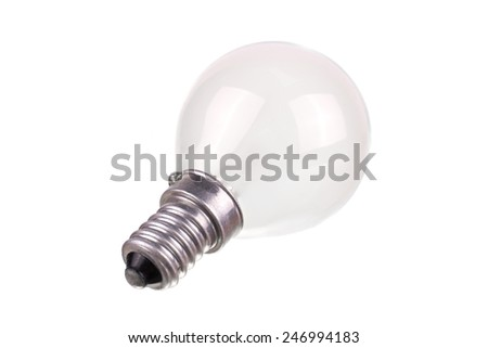 small incandescent light bulb isolated on white background - stock photo