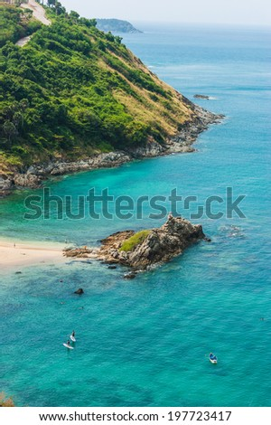 Small island in the sea near Phuket in Thailand - stock photo