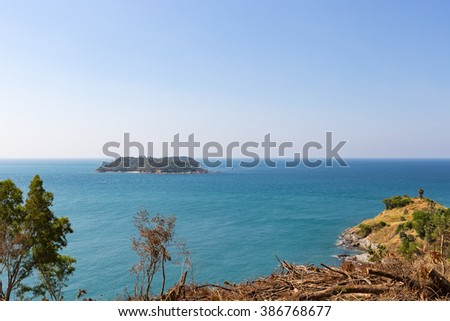 small island near Phuket. Nearby Laem Phrom Thep Scenic areas of Phuket - stock photo