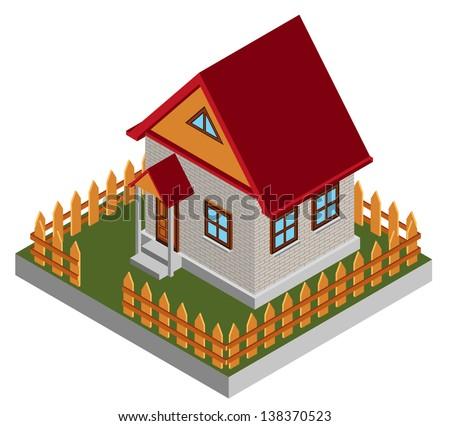 Small isometric house - stock photo