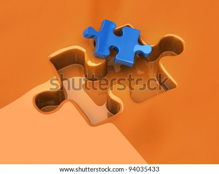 Small jigsaw puzzle piece - stock photo