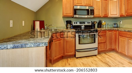 Small kitchen area with vaulted white ceiling and olive tone walls. View of wooden cabinets with steel appliances. - stock photo