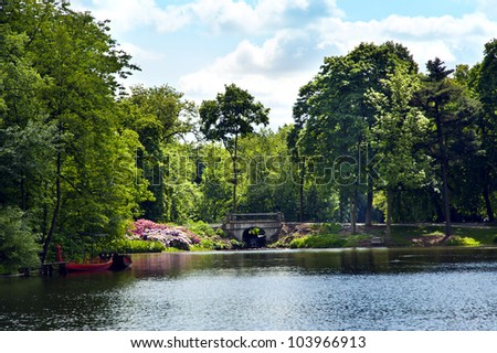 small lake in the park - stock photo