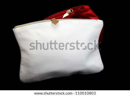 small leather white wash pouch for make up - stock photo