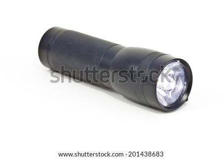small led flashlight on white background - stock photo