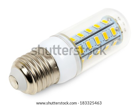 Small LED lamp closeup on white background - stock photo
