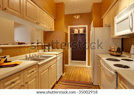 Small long apartment kitchen - stock photo