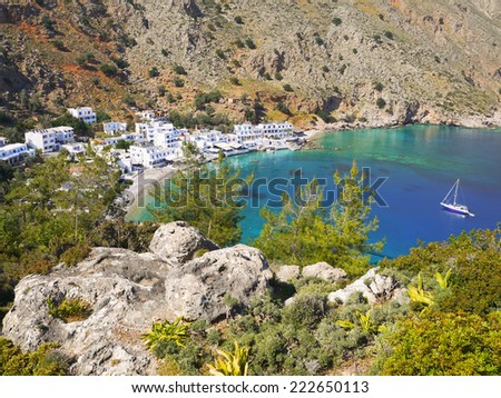 Small Loutro village, Crete, Greece - stock photo