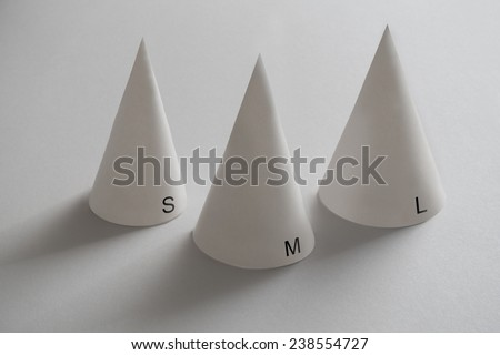 small medium and large size dunce caps - stock photo