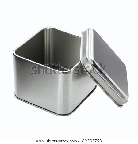 Small Metal box isolated on a white background - Open - stock photo