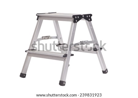Small metal ladder isolated on white background - stock photo