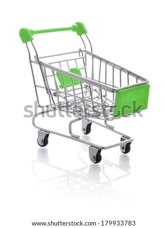 Small metal shopping cart isolated on white background - stock photo