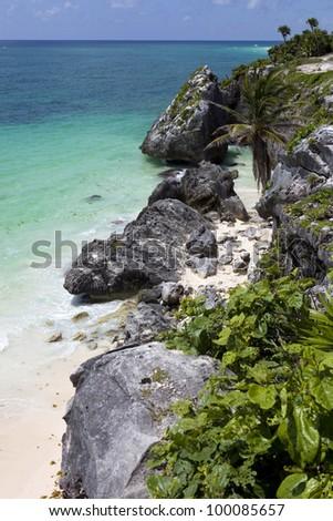 small Mexico beach at Tulum ruins, Yucatan - stock photo