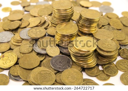 Small money.Ukrainian money. Hryvnia. - stock photo