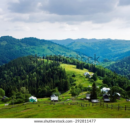 Small mountain village. Ukrainian Carpathians - stock photo