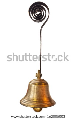 Small old hanging bell isolated on a white background - stock photo