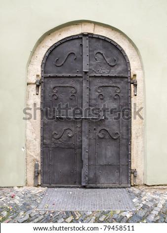 small old metal door - stock photo