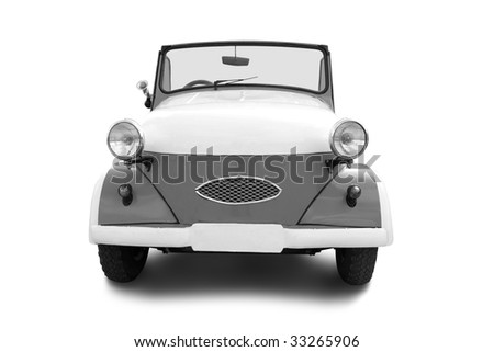 small old retro car isolated on white background - stock photo