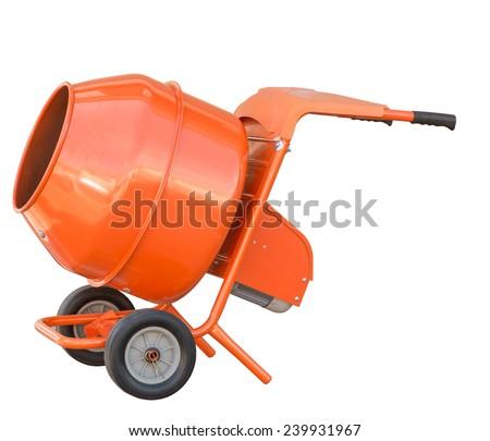 small orange concrete mixer machine and wheelbarrow isolate on white background - stock photo