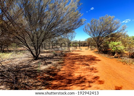 Small orange country road in Australian outback - stock photo