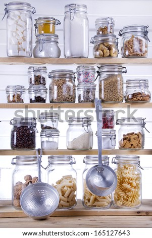 Small Pantry Housewife, Containing Necessary To Cook  - stock photo