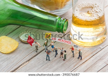 Small people at the demonstration. No alcohol. Concept of health care. - stock photo