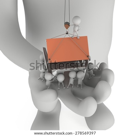 Small people build house on the palm of big man. Business, teamwork, assembling, real estate concept. 3D render on white. - stock photo