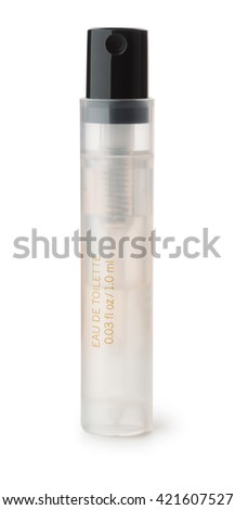 Small perfume sample bottle isolated on whte - stock photo