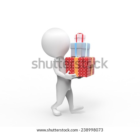 Small person carries three box-gifts - stock photo