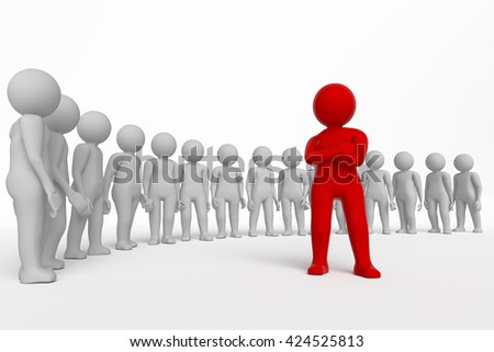 Small person the leader of a team allocated with red colour. 3d rendering. Isolated white background. - stock photo