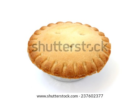 Small pie dough top view on a white background - stock photo
