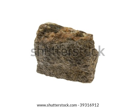Small piece of a granite stone isolated on a white background - stock photo