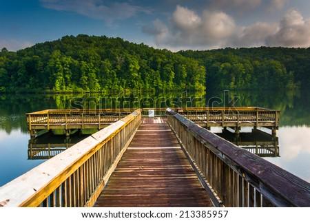 Small pier at Lake Oolenoy, Table Rock State Park, South Carolina. - stock photo