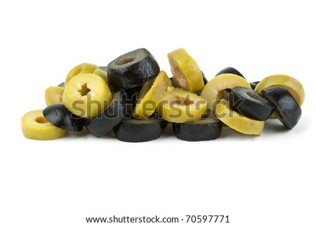 Small pile of sliced black and green olives  isolated on the white background - stock photo