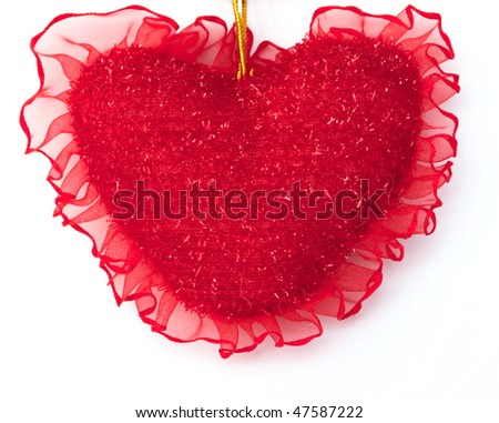 Small pillow heart on a white background - stock photo