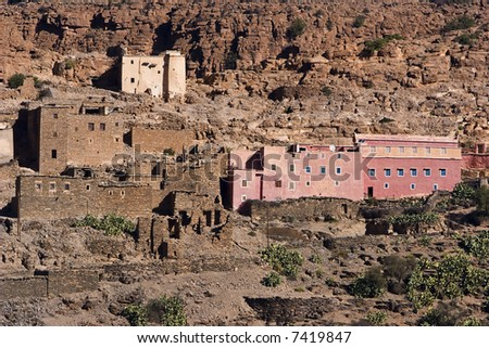 Small pink city near Tafrout, Morocco - stock photo